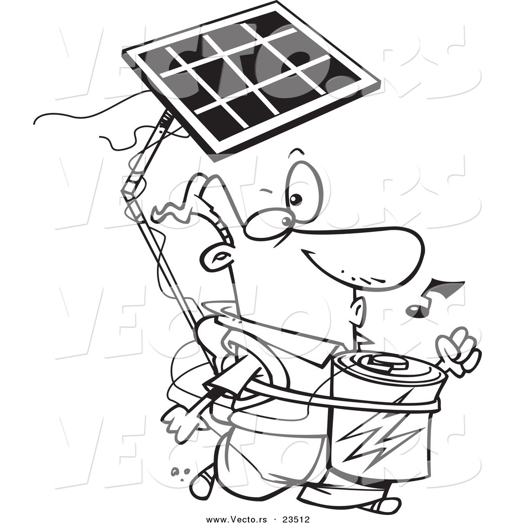 Cartoon Vector Of Cartoon Solar Power Guy