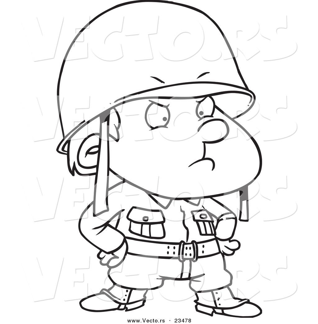 Cartoon Vector Of Cartoon Strict Sol R Boy