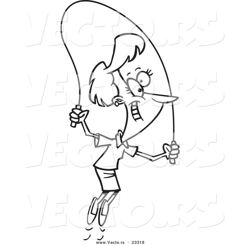 Cartoon Vector Of Cartoon Woman Skipping Rope