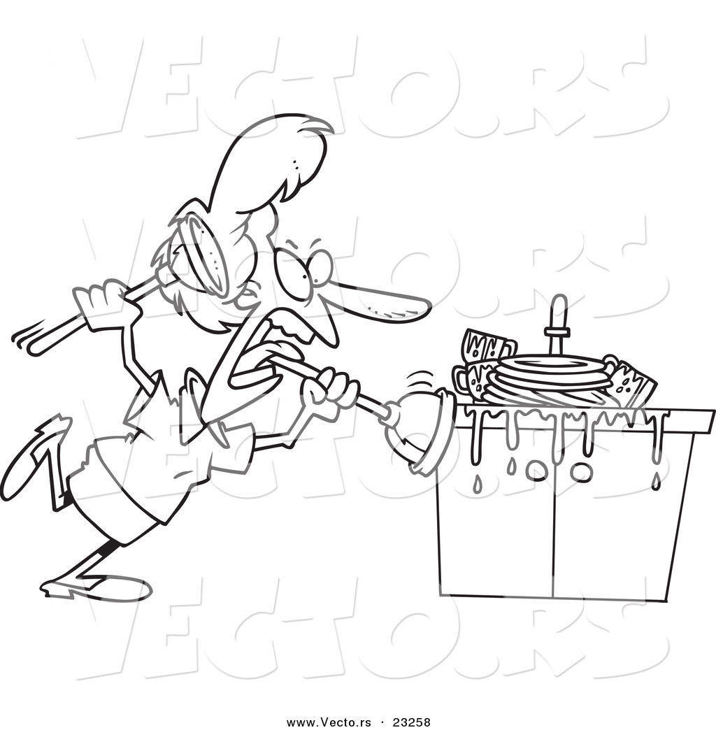 Cartoon Vector of Cartoon Woman Tackling a Sink with a
