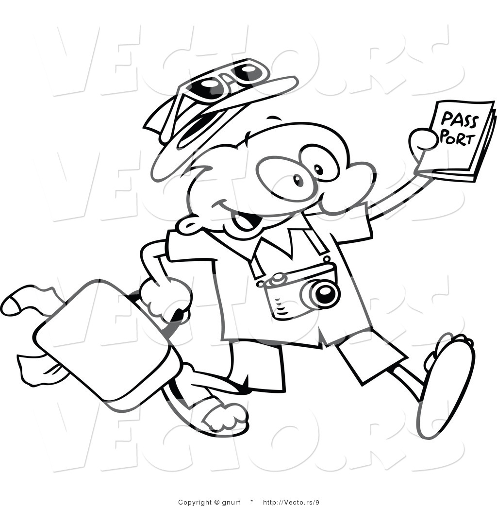 Vector Line Drawing Of A Happy Cartoon Traveling Guy Carrying Luggage And Passport By Gnurf