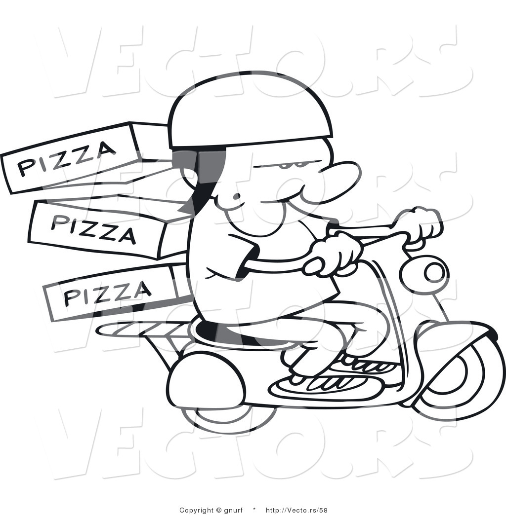 Vector Line Drawing Of A Pizza Delivery Man Delivering