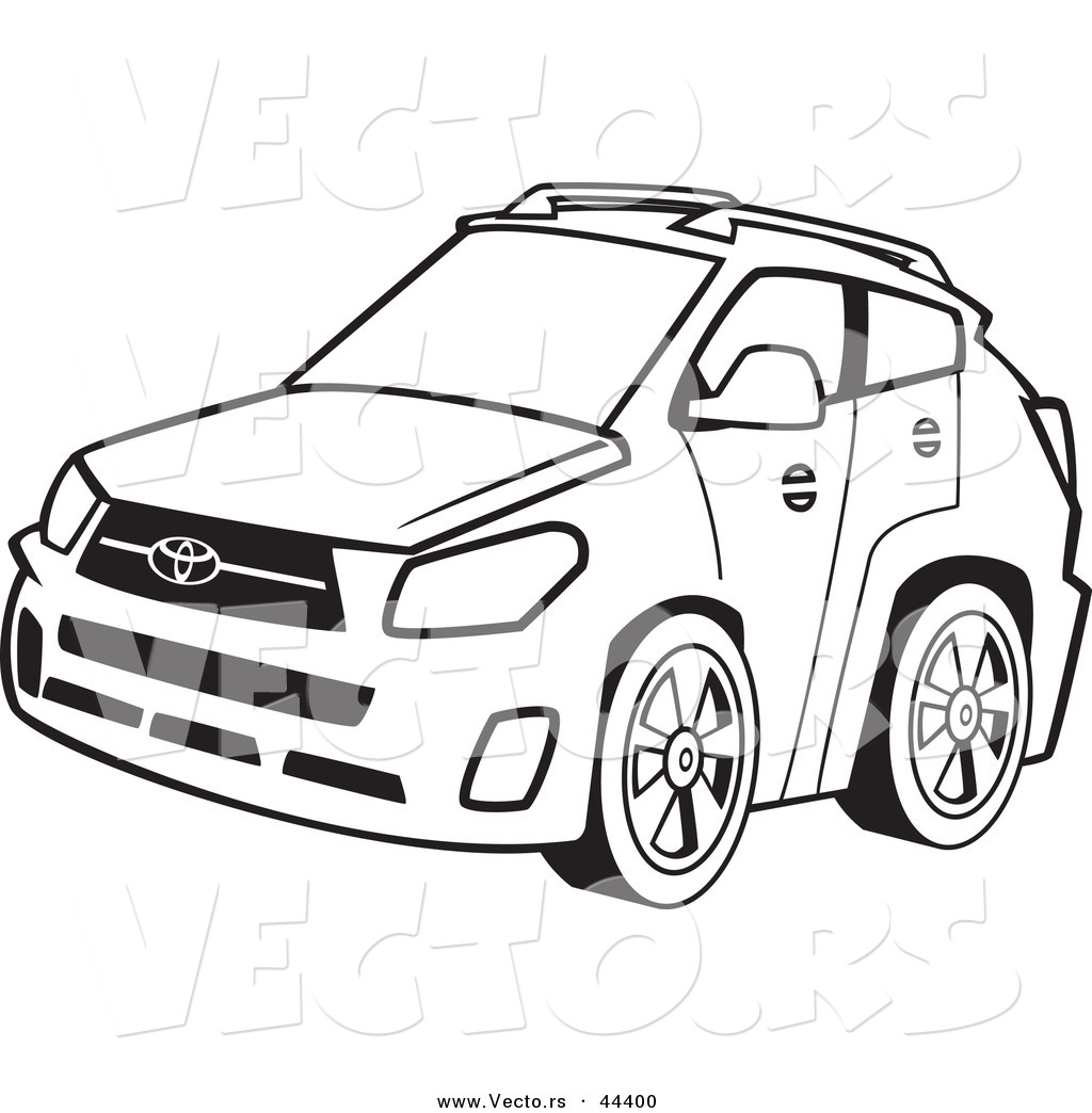Vector Of A 4 Door Car Coloring Page Outline By Toonaday 44400