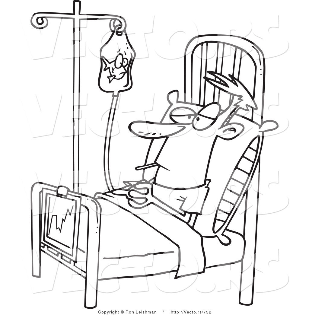 Vector of a Bored Cartoon Patient IV Fluid Bag While