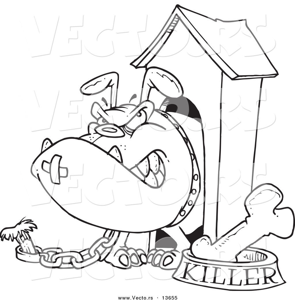 Vector of a Cartoon Aggressive Bulldog in His Dog House