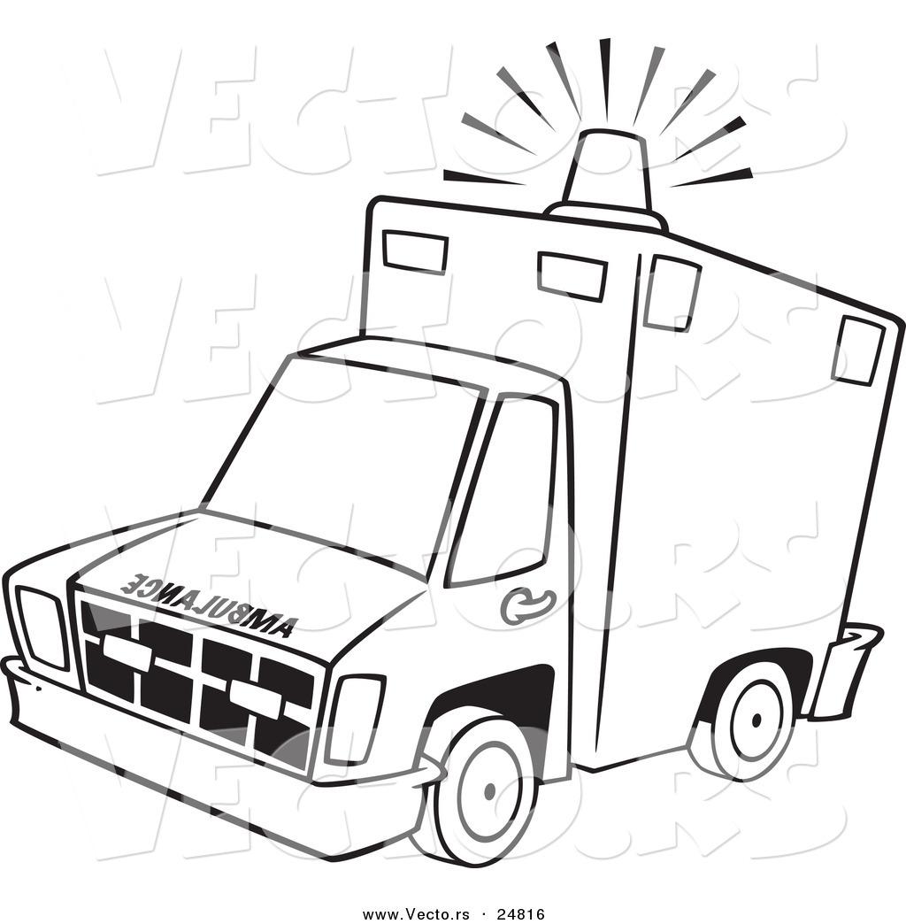 Vector of a Cartoon Ambulance with Lit Siren Light
