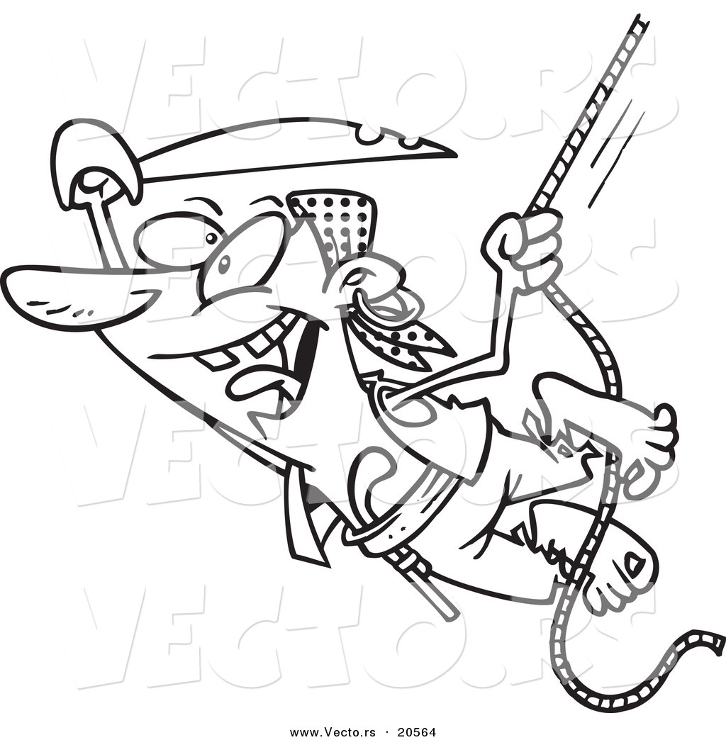 Vector Of A Cartooning Pirate Swinging On A Rope