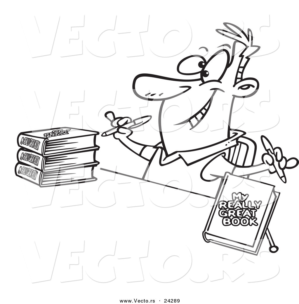 Vector of a Cartoon Author Signing Books Black and White
