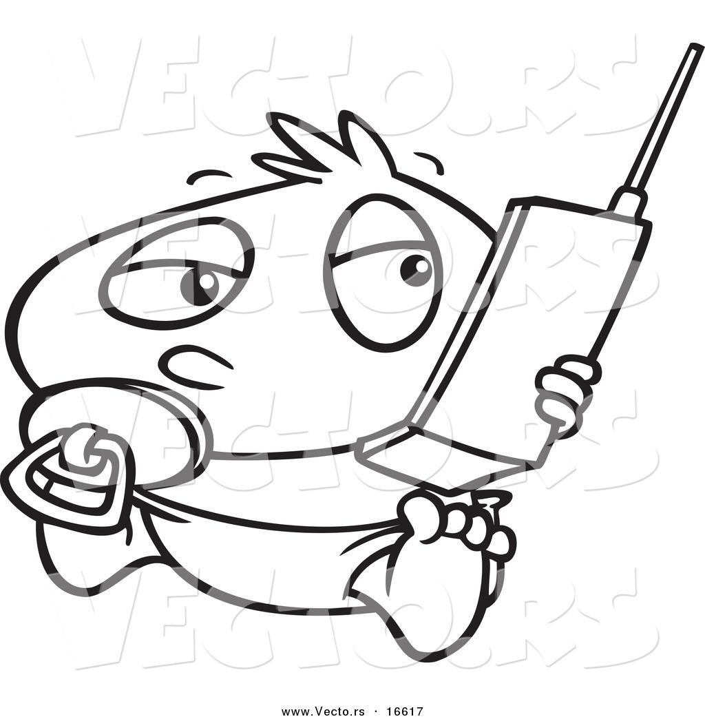 Vector Of A Cartoon Baby Boy Using A Cell Phone
