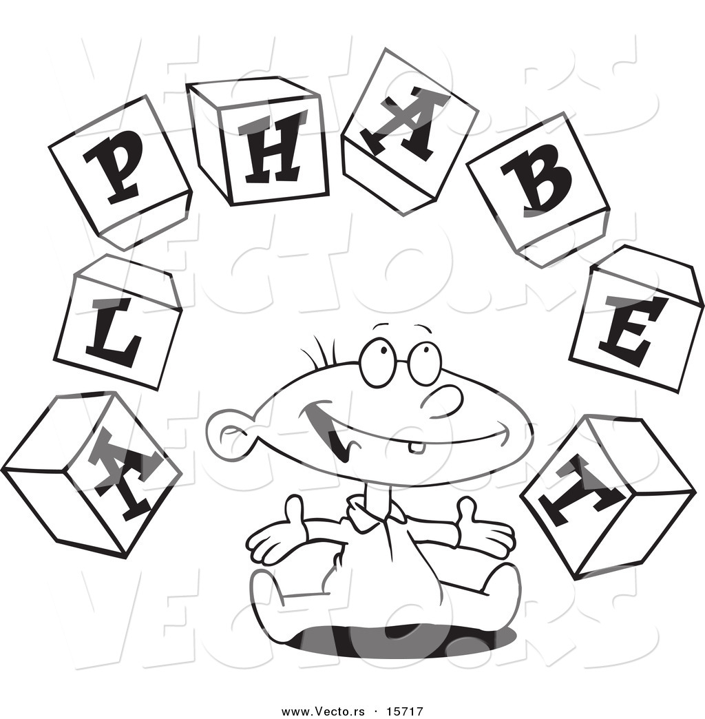Vector Of A Cartoon Baby Playing With Alphabet Blocks