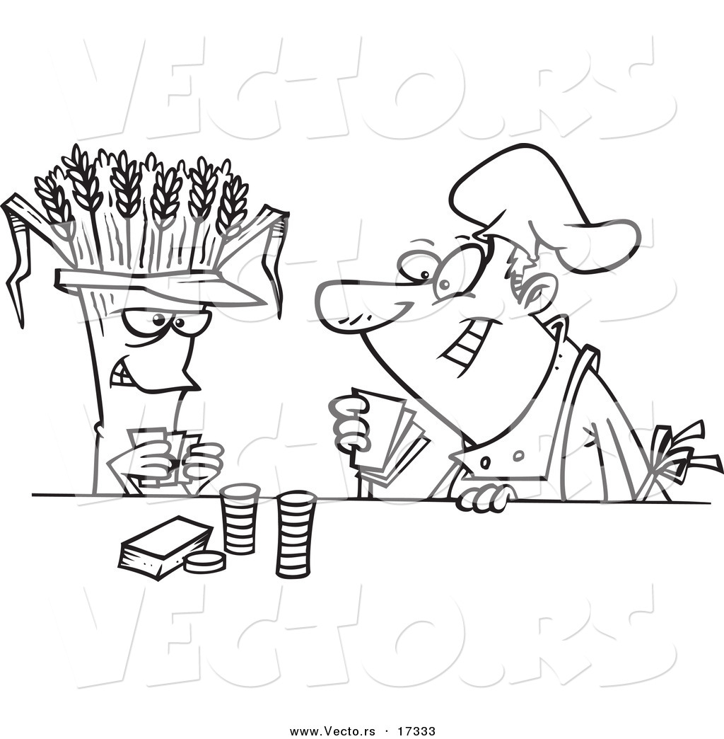 Vector Of A Cartoon Baker Playing With Wheat