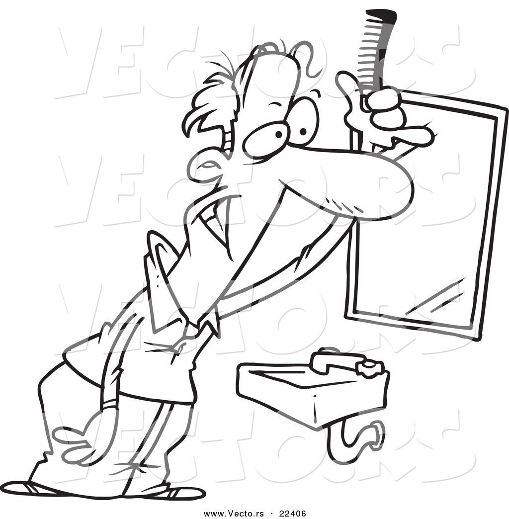 Vector Of A Cartoon Balding Man Combing His Hair