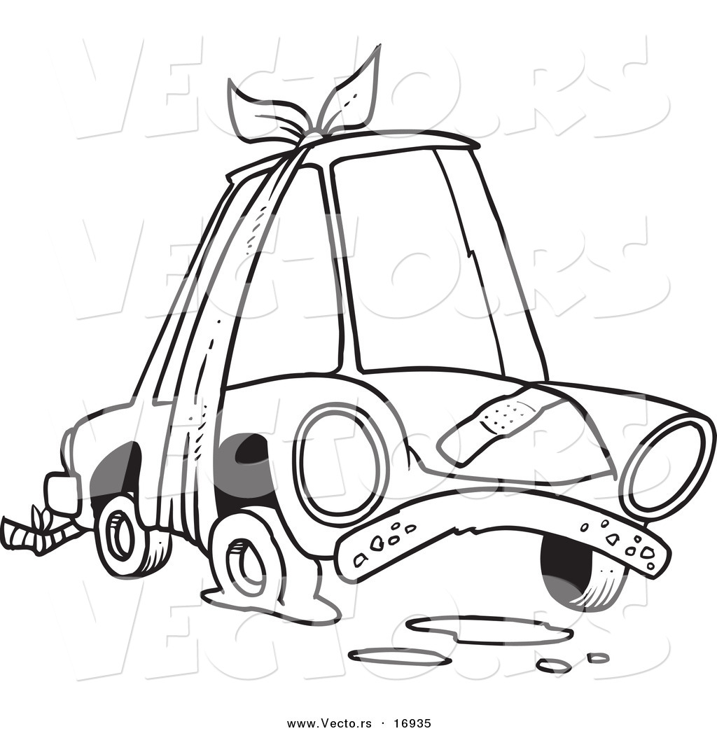 Vector of a Cartoon Beater Car with Bandages and Flat Tire