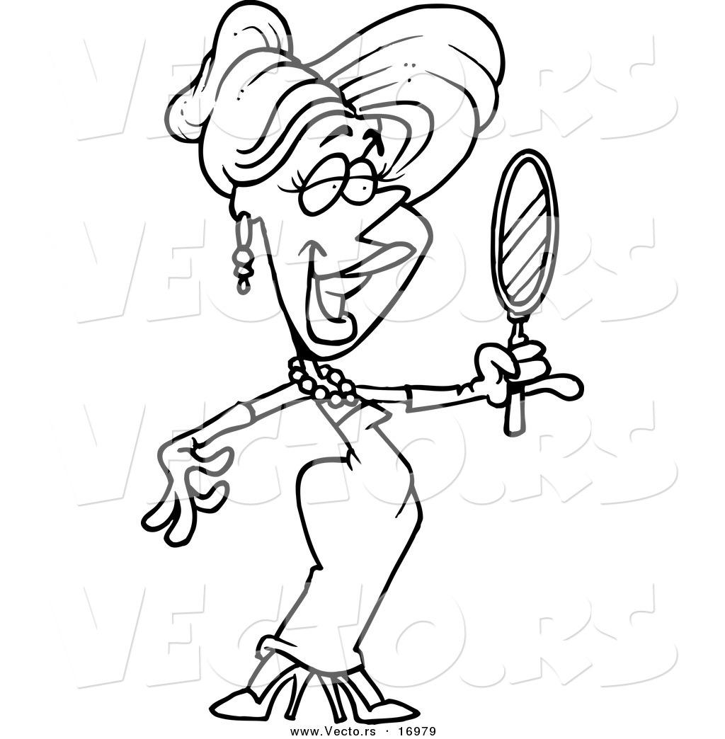 Vector Of A Cartoon Beautiful Blond Woman Using A Hand