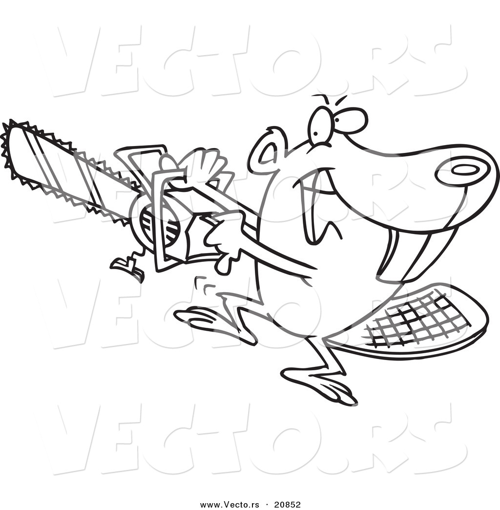 Vector Of A Cartoon Beaver Using A Chainsaw