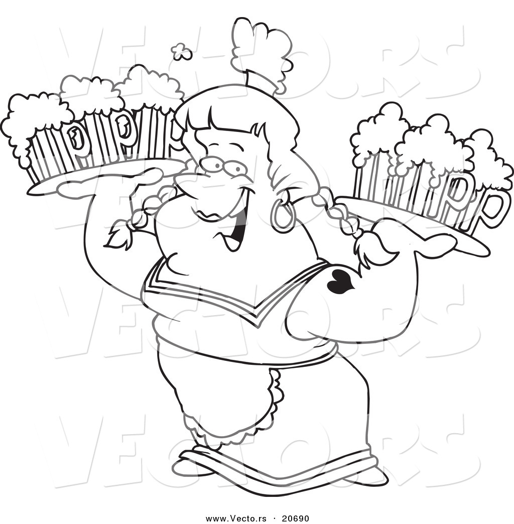 Vector Of A Cartoon Beer Maiden Carrying Trays