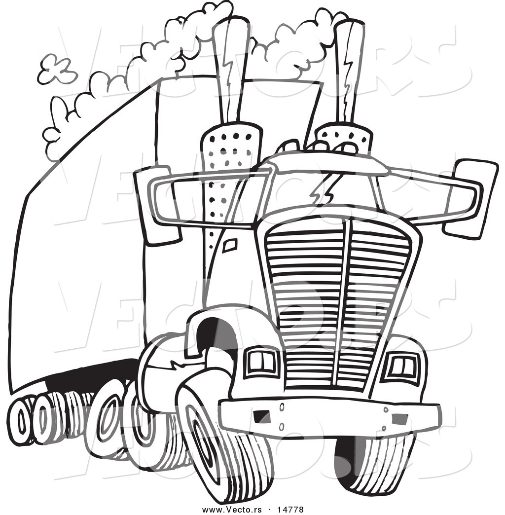 Vector Of A Cartoon Big Rig Releasing A Lot Of Exhaust