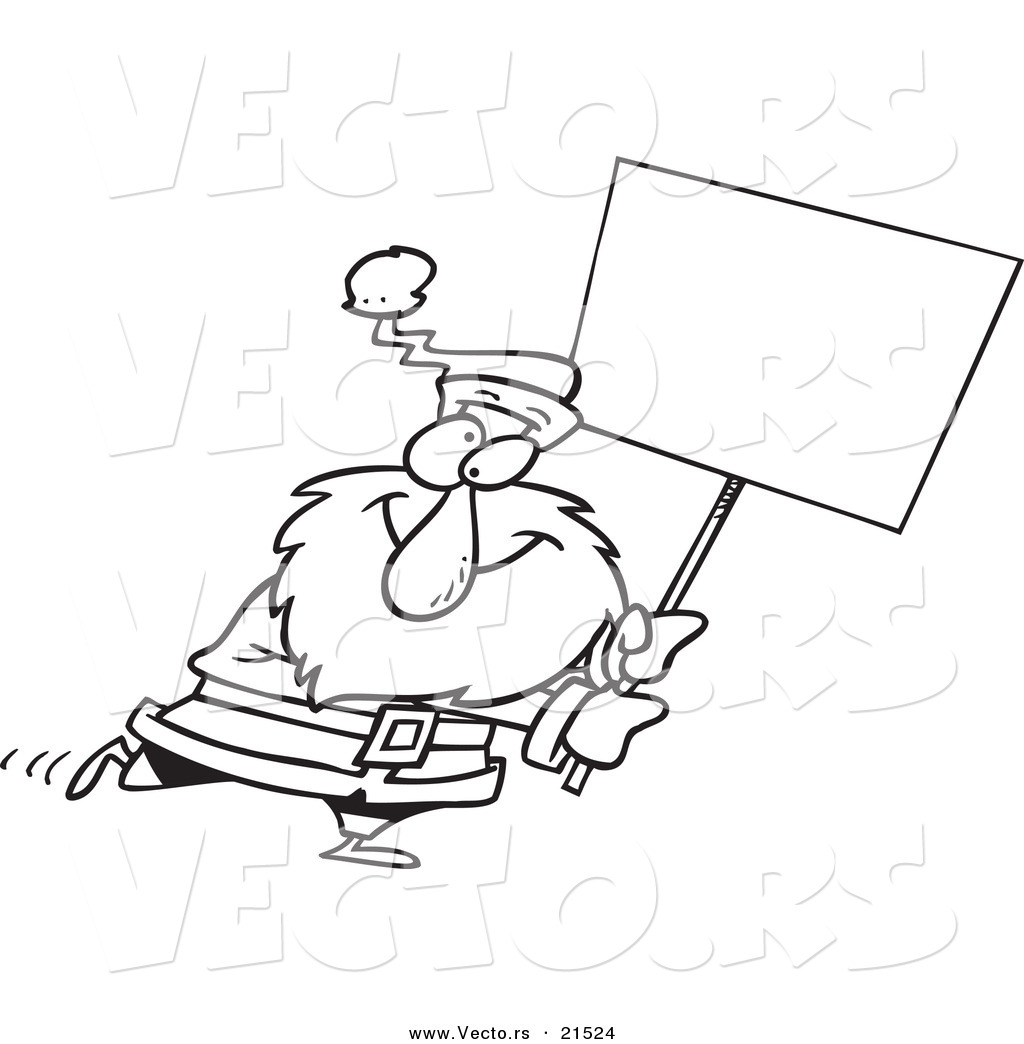 Vector of a Cartoon Black and White Outline Design of