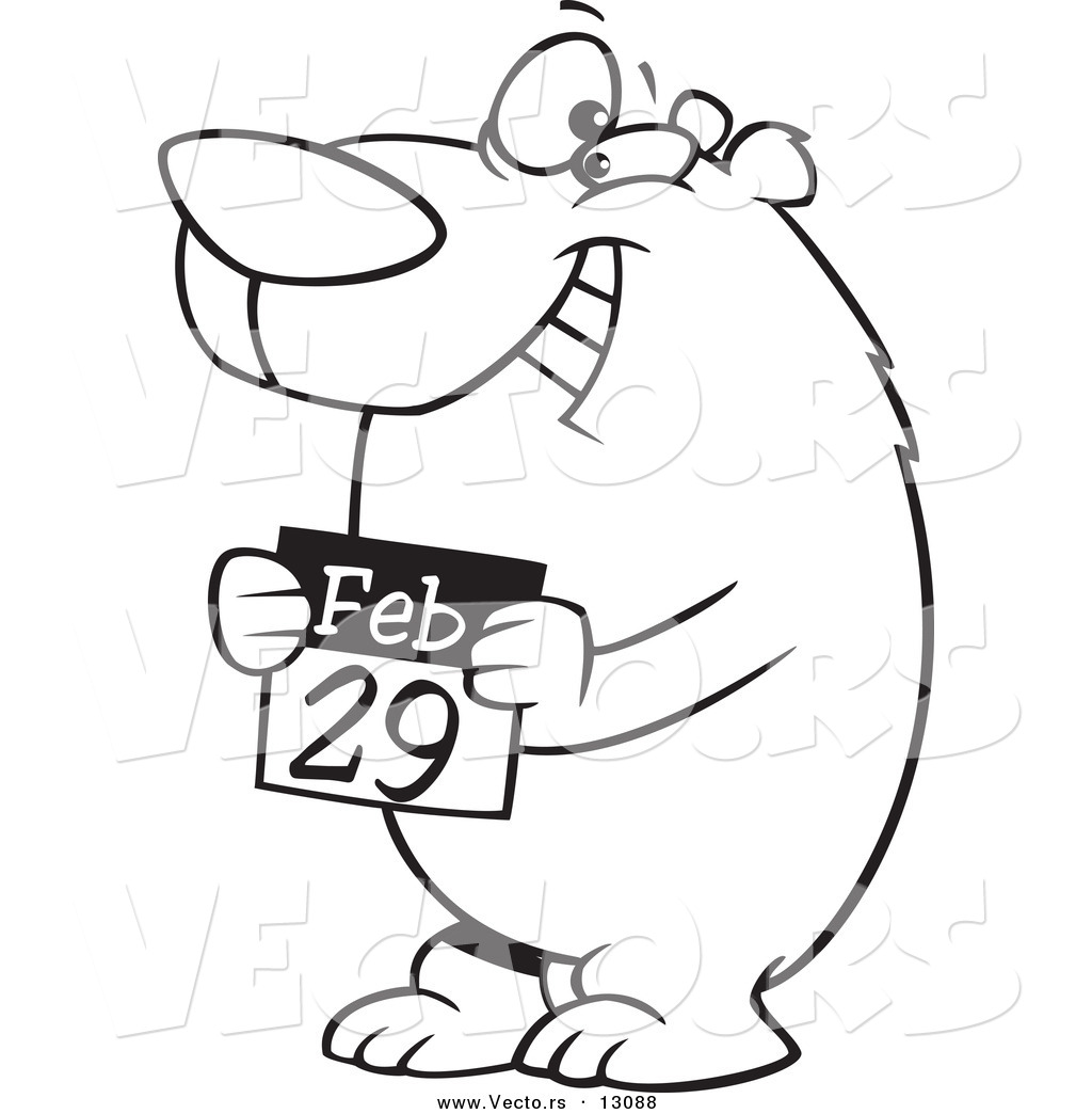 Vector of a Cartoon Black and White Outline Leap Day Bear