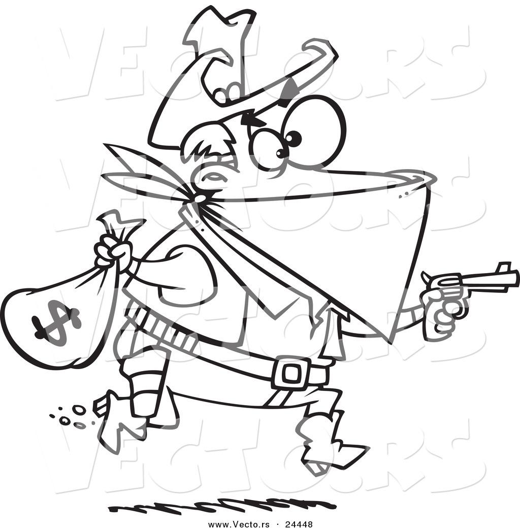 Vector of a Cartoon Black Bart Outlaw Stealing Money