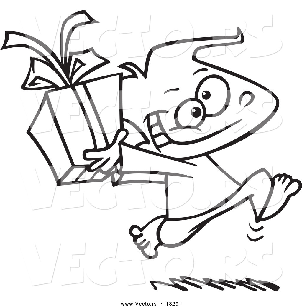 Vector of a Cartoon Black Boy Running with a Gift Box