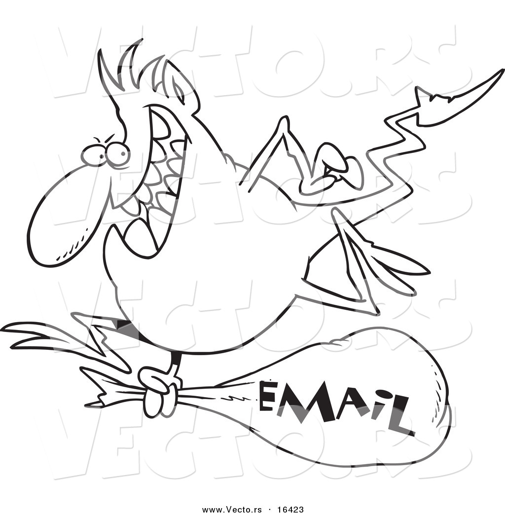 Vector of a Cartoon Blue Gremlin with an Email Bag