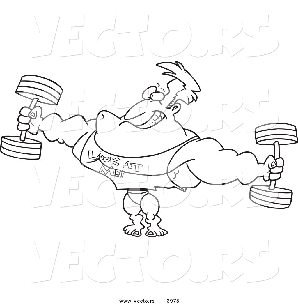 Vector Of A Cartoon Bodybuilder Wearing A Look At Me Shirt And Lifting Weights