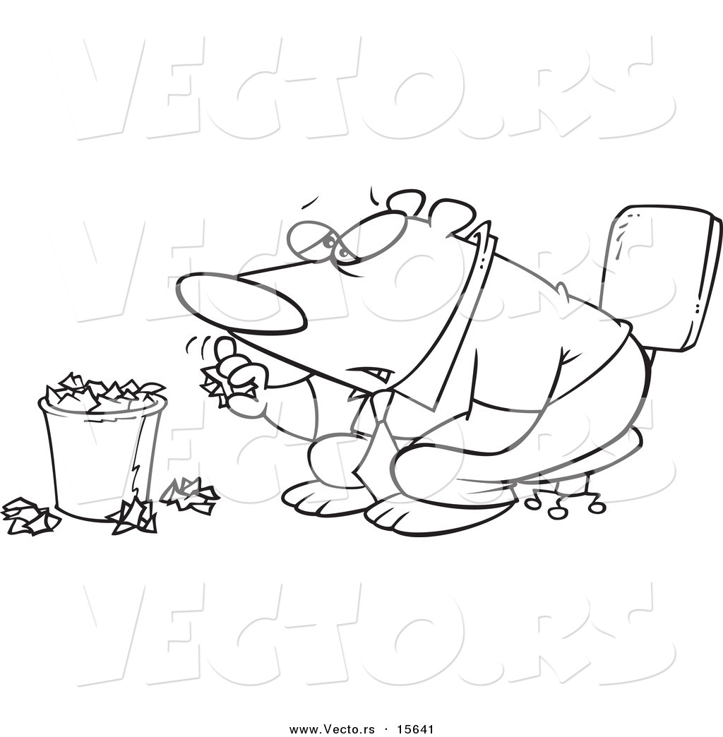 Vector of a Cartoon Bored Business Bear Tossing Crumpled