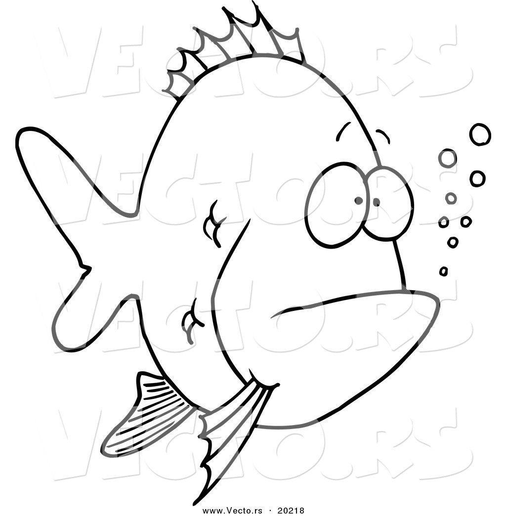 Vector Of A Cartoon Bored Fish