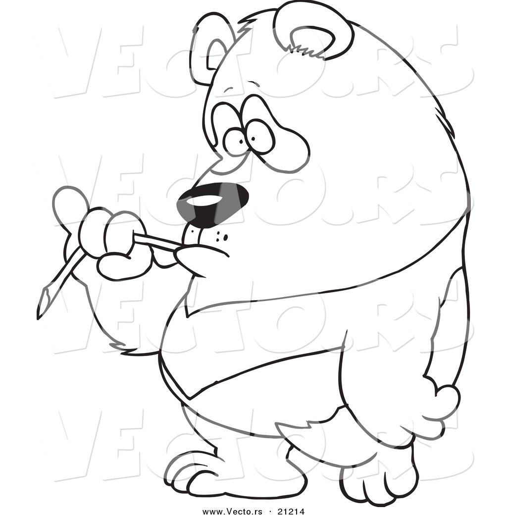 Vector Of A Cartoon Bored Panda Eating Bamboo