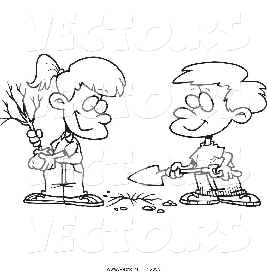 Vector Of A Cartoon Boy And Girl Planting An Arbor Day