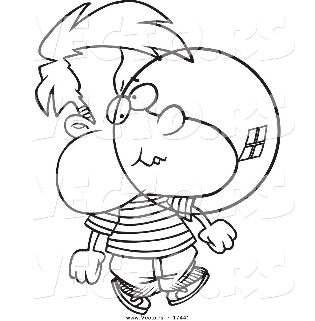 Vector Of A Cartoon Boy Blowing Bubble Gum