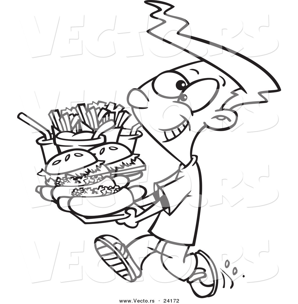 Vector of a Cartoon Boy Carrying a Heavy Fast Food Tray