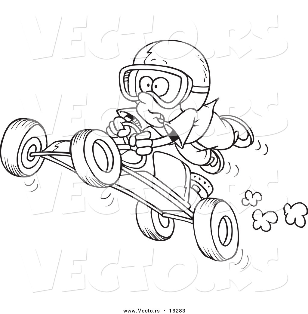 Vector Of A Cartoon Boy Catching Air On A Go Cart