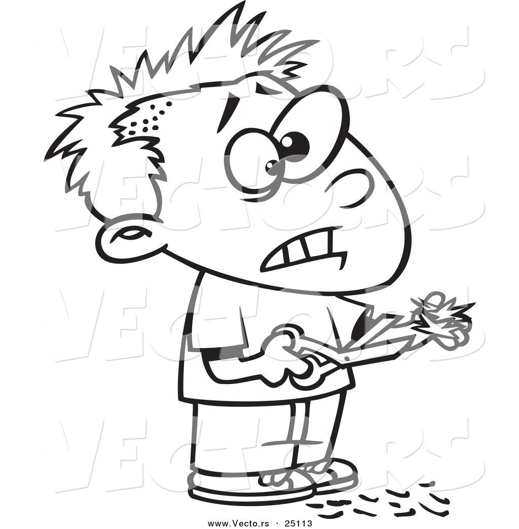 Vector Of A Cartoon Boy Cutting His Own Hair