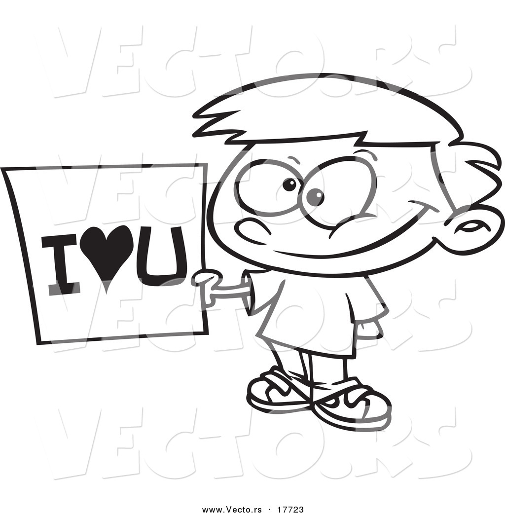 Vector of a Cartoon Boy Holding an I Love You Sign