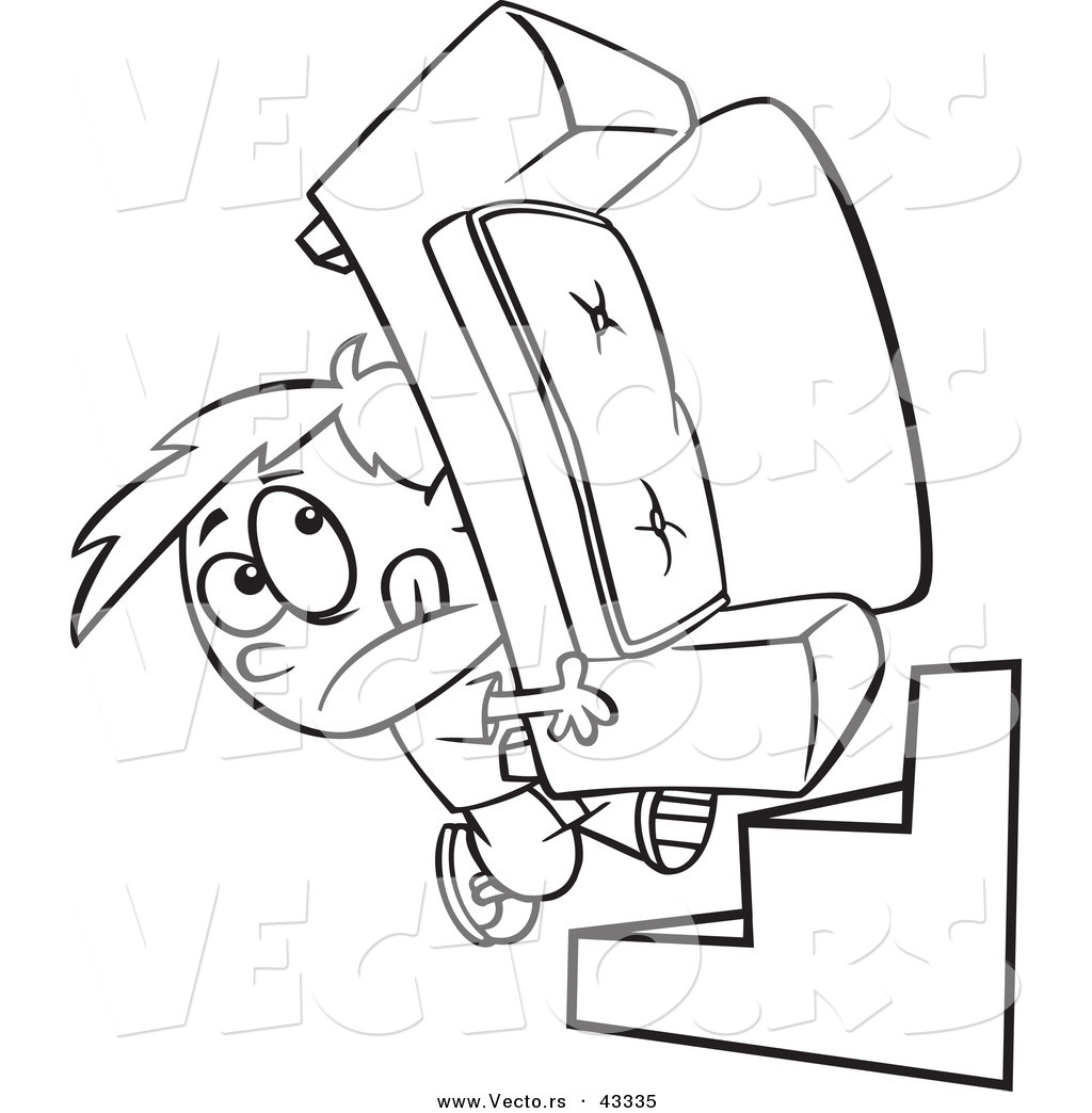 Vector Of A Cartoon Boy Moving A Heavy Couch Up Stairs