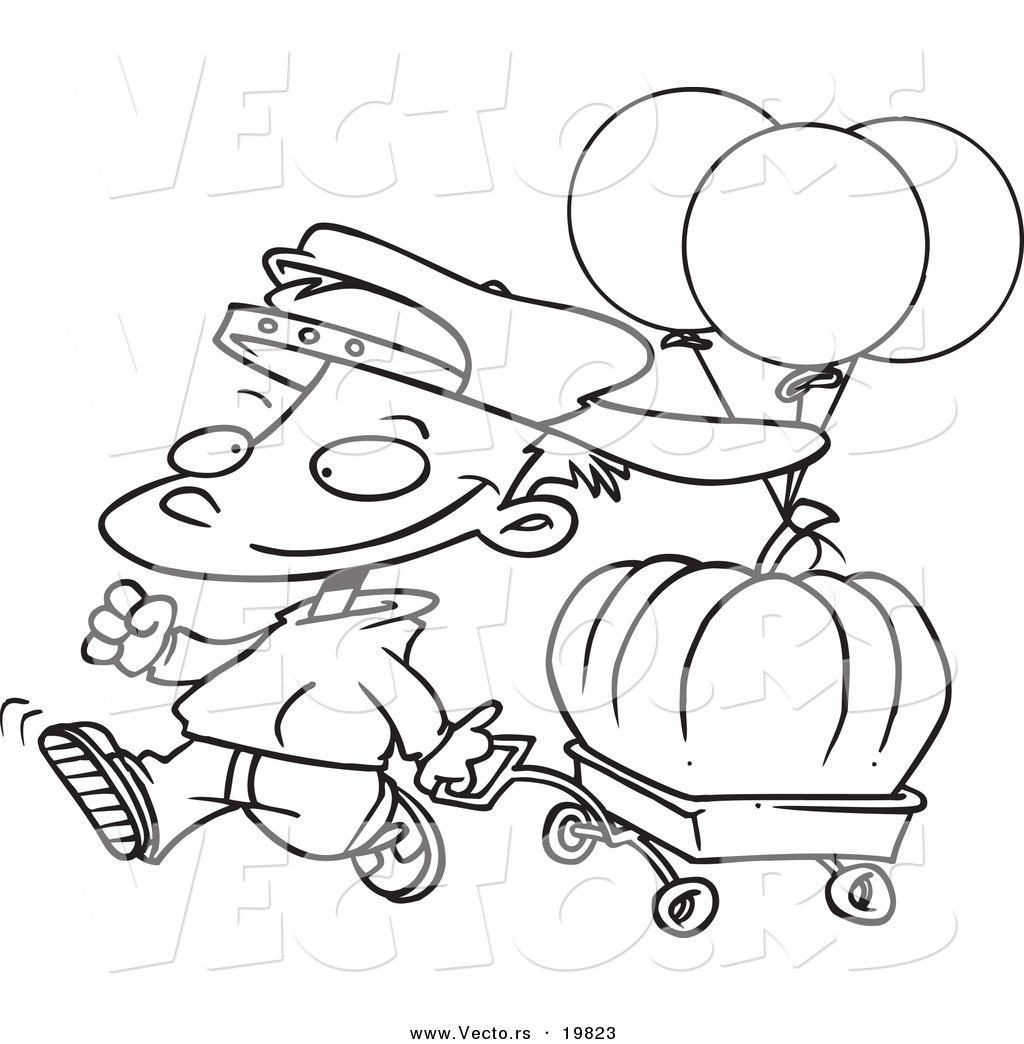 Vector Of A Cartoon Boy Pulling A Pumpkin In A Wagon
