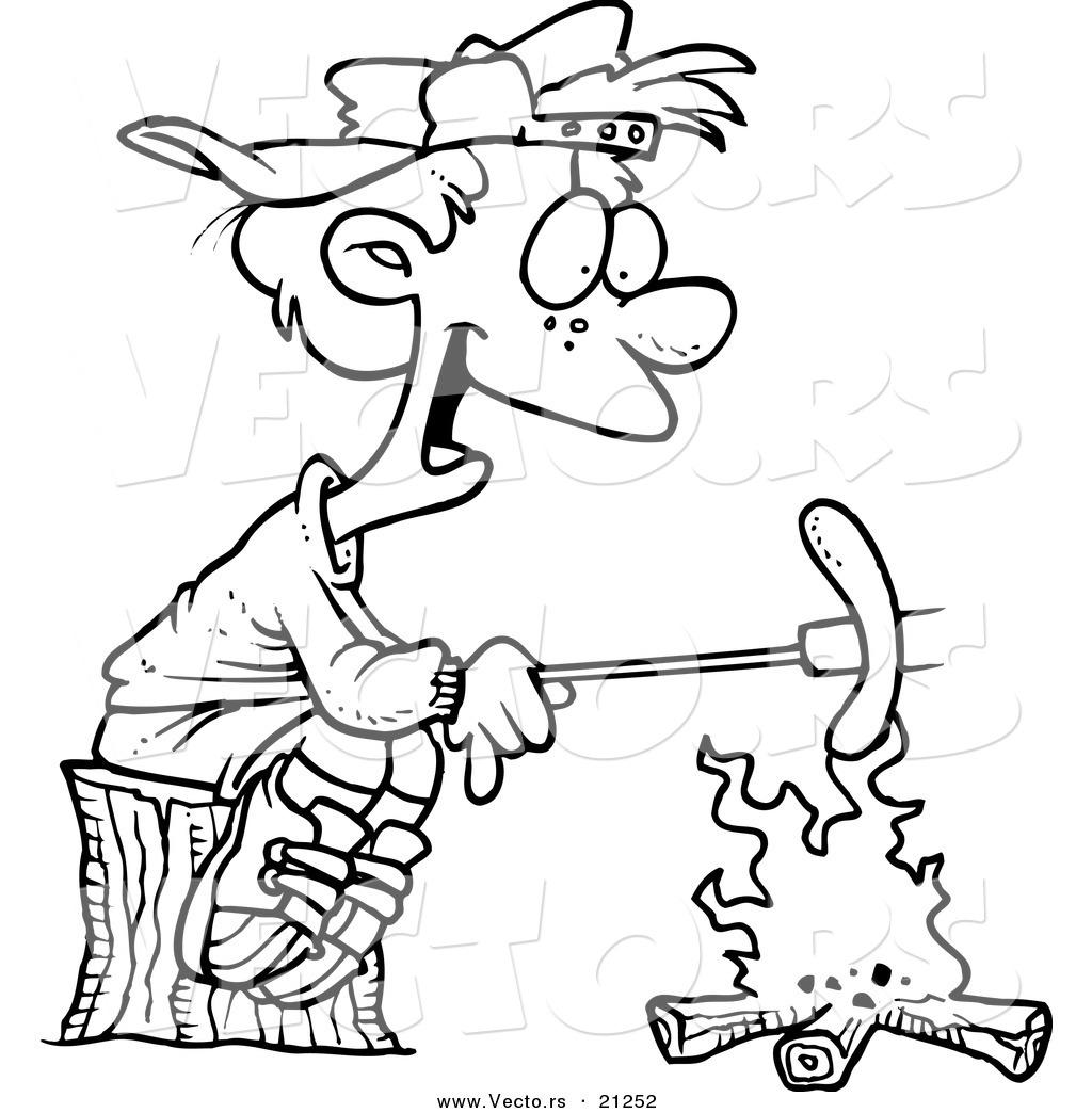 Vector of a Cartoon Boy Roasting a Weenie over a Campfire