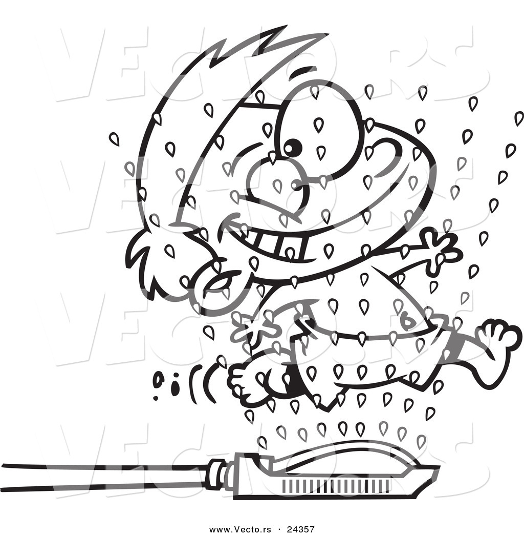 Vector Of A Cartoon Boy Running Through Sprinklers