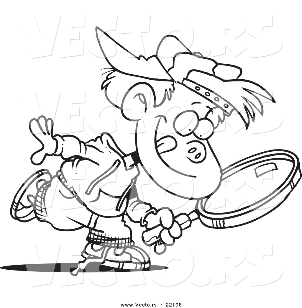 Vector Of A Cartoon Boy Seeking With A Magnifying Glass