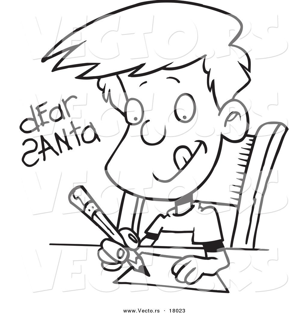 Vector of a Cartoon Boy Writing a Dear Santa Letter
