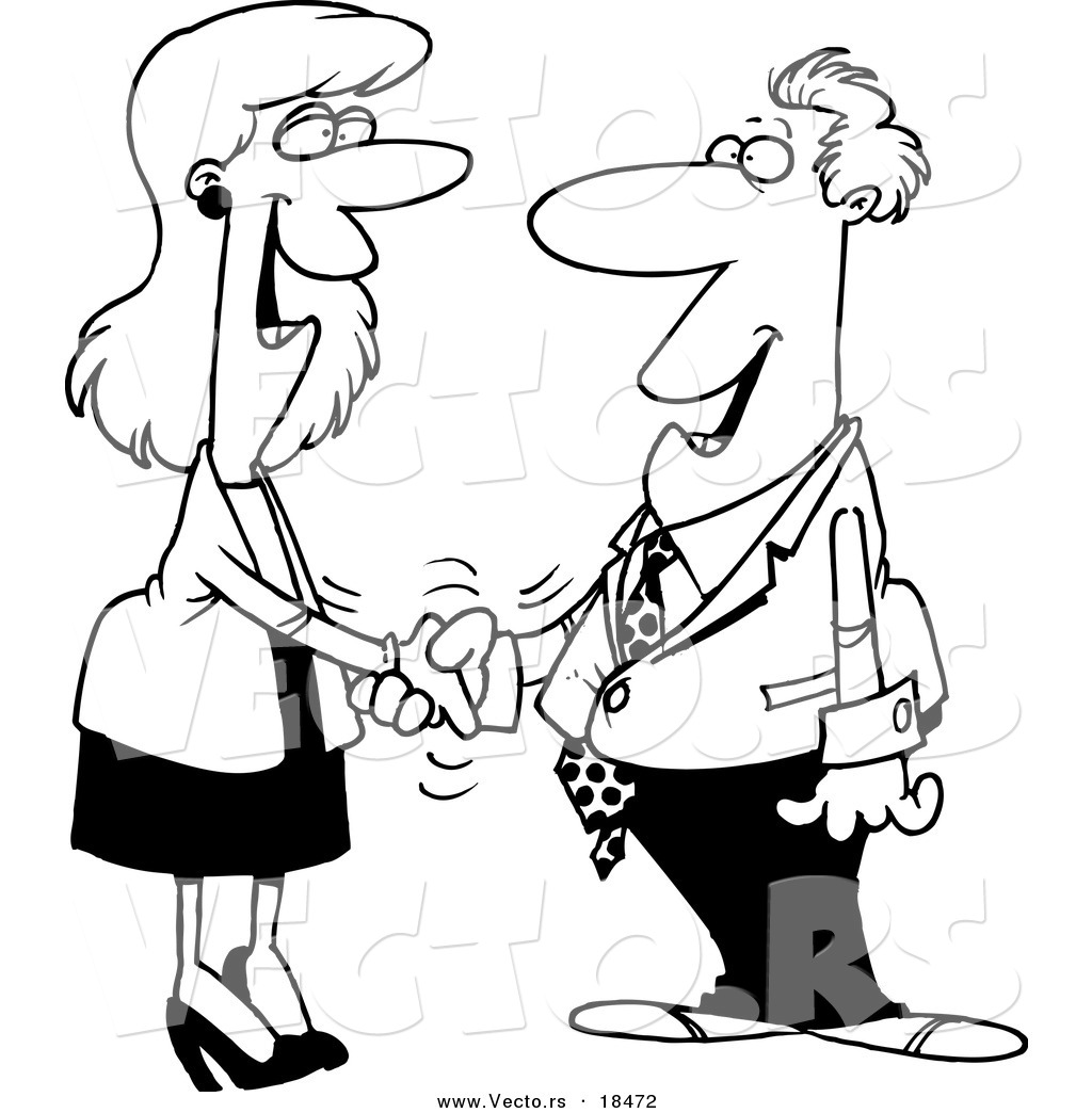Vector Of A Cartoon Businessman And Woman Shaking Hands