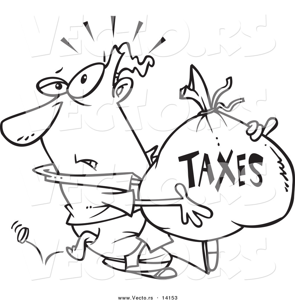 Vector Of A Cartoon Businessman Being Hit With Extra Taxes And Carrying A Money Bag