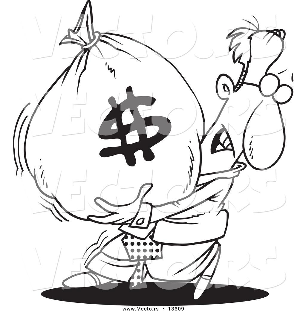 Vector Of A Cartoon Businessman Carrying A Heavy Money Bag