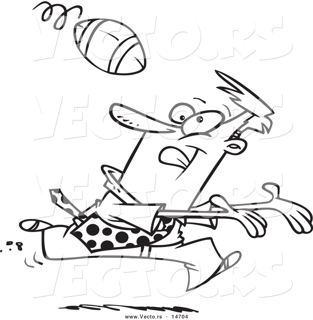 Vector of a Cartoon Businessman Playing Football