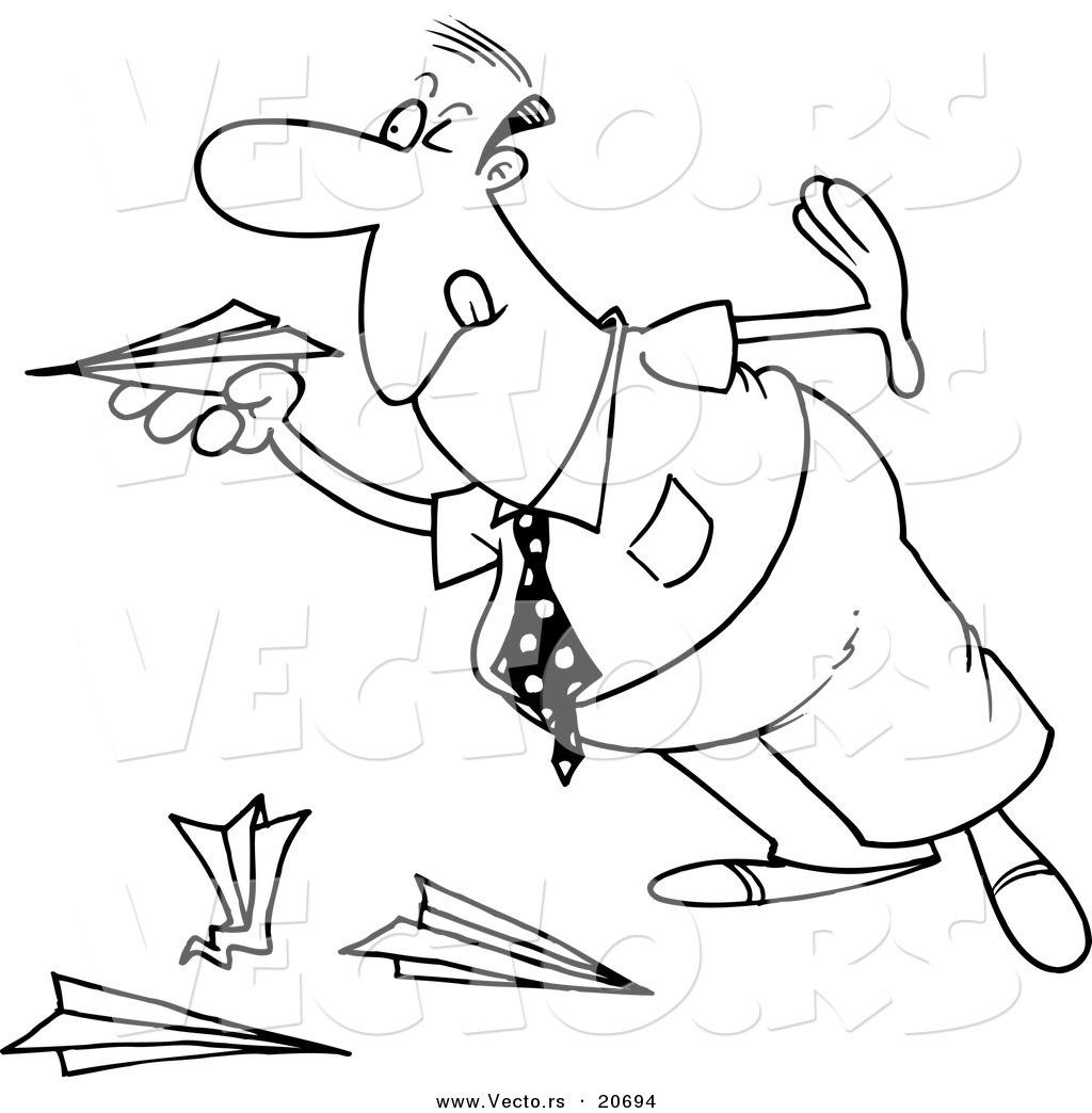 Vector Of A Cartoon Businessman Playing With Paper Planes