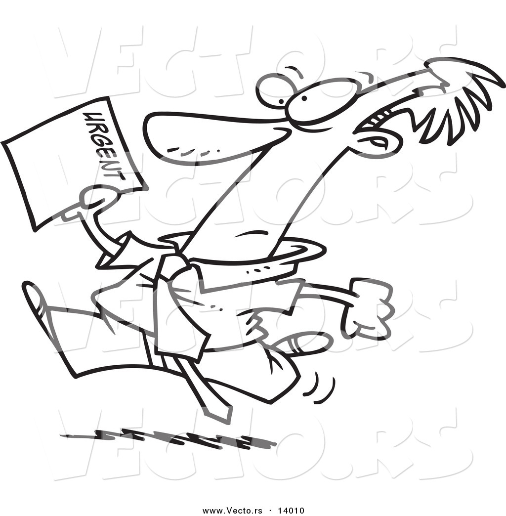 Vector of a Cartoon Businessman Running to Deliver an