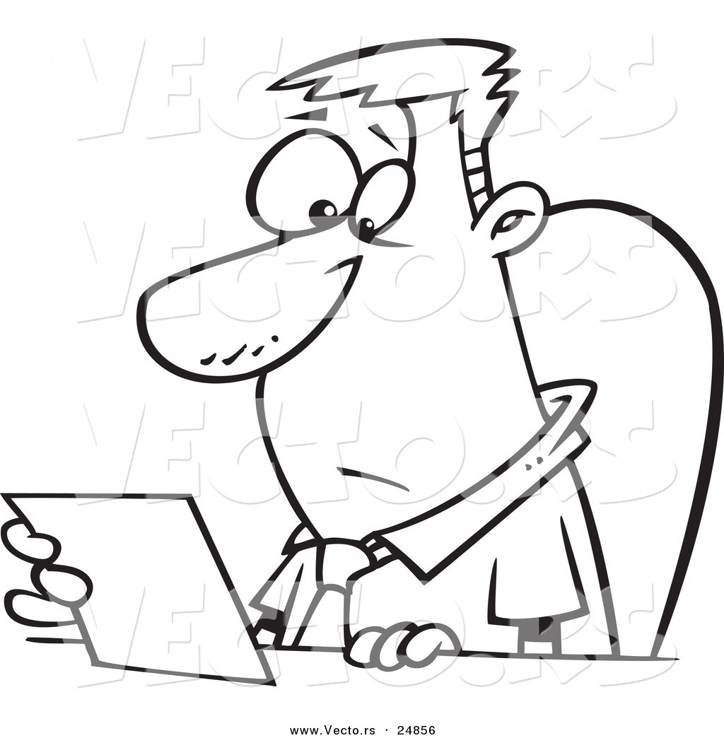 Vector of a Cartoon Businessman Seated at a Desk and