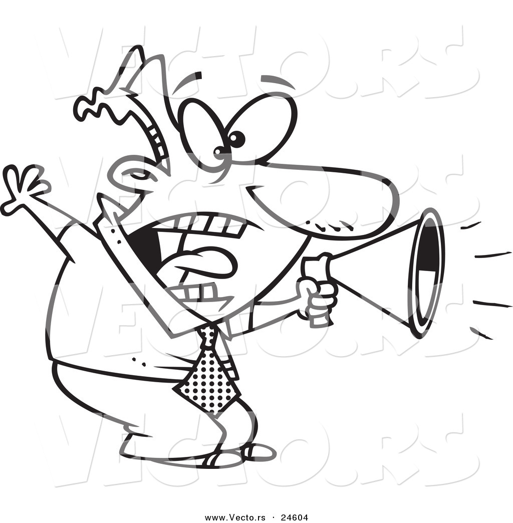 Vector of a Cartoon Businessman Shouting in a Megaphone